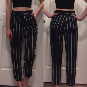 Zara Pinstriped Navy and White High Waisted Pants